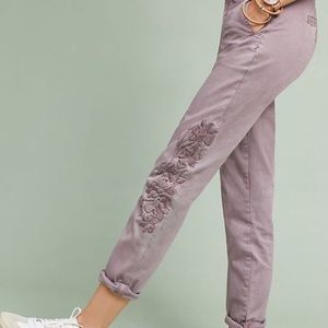 CHINO by Anthro purple chinos w floral embroidery